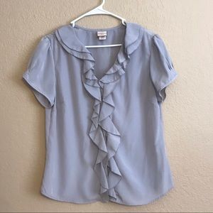 Gray Ruffled Wear to Work Blouse